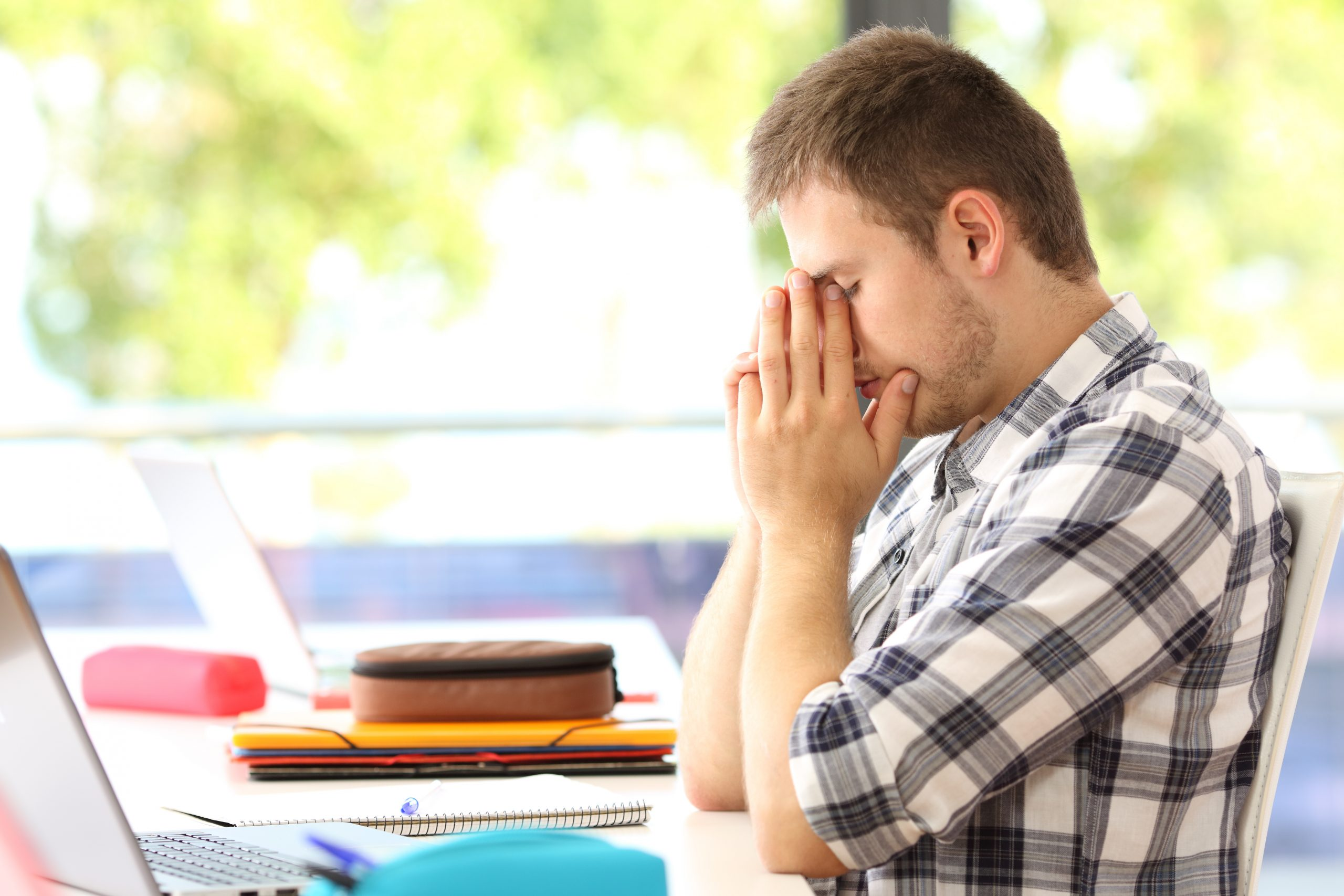 Stressed student from emergency removal