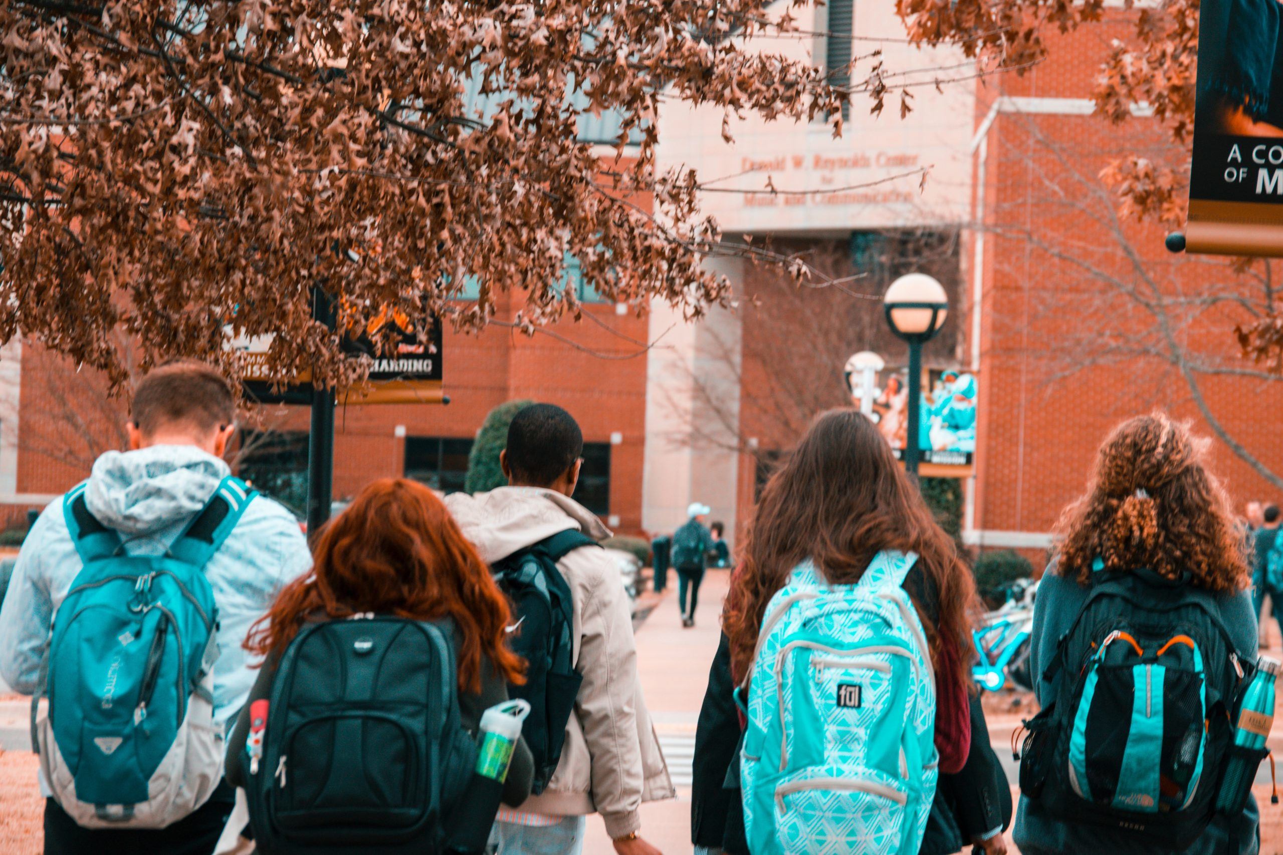 Students walking on a college campus