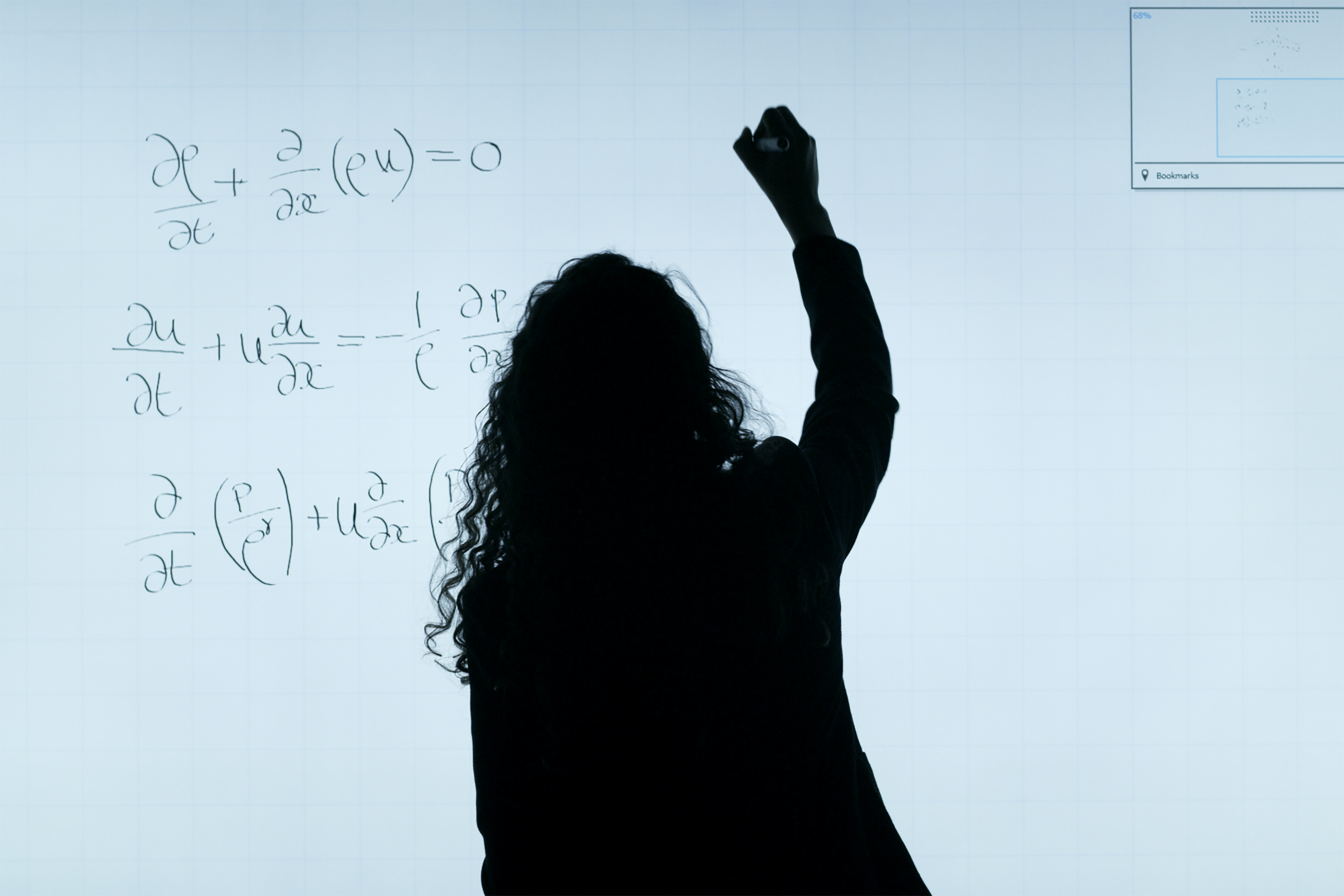 Woman writing equations on a whiteboard