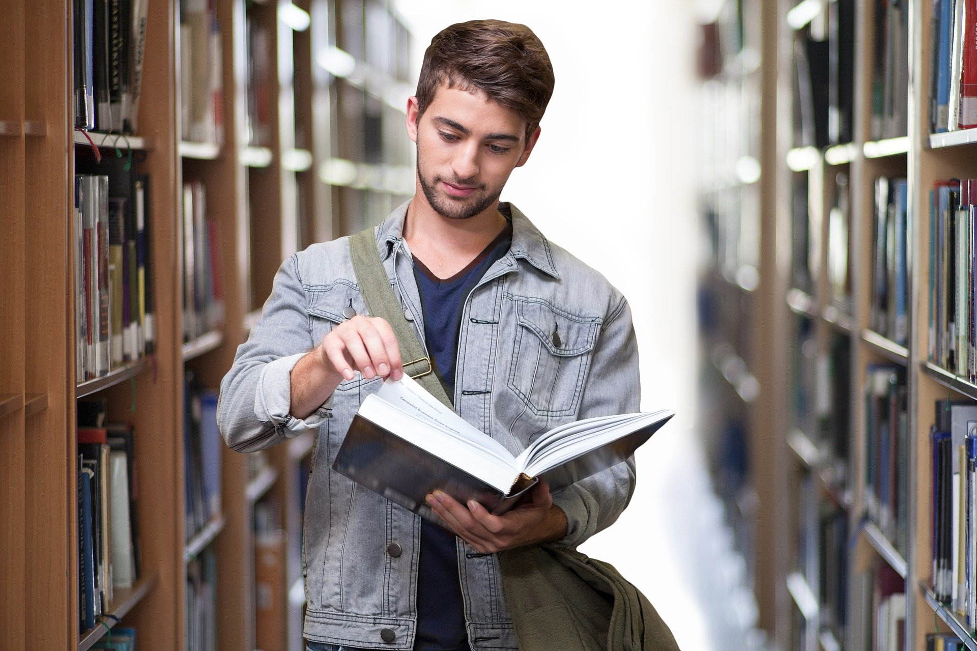 A student at the library
